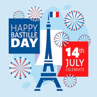Bastille day illustration cocnept