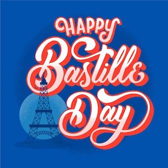 Bastille day lettering concept