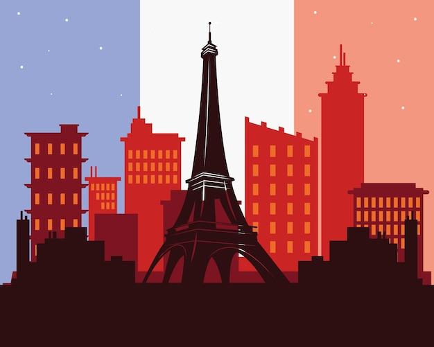 パリの街のシーンとバスティーユの日のポスター