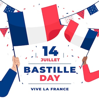 フランスの旗と花輪のフランス革命記念日