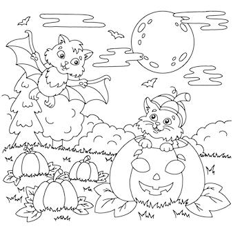 カボチャのハロウィーンのテーマのコウモリと猫子供のための塗り絵ページ