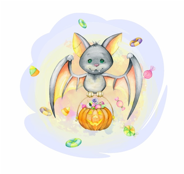 A bat, in cartoon style, with a pumpkin and sweets. watercolor concept for halloween. for children's parties.