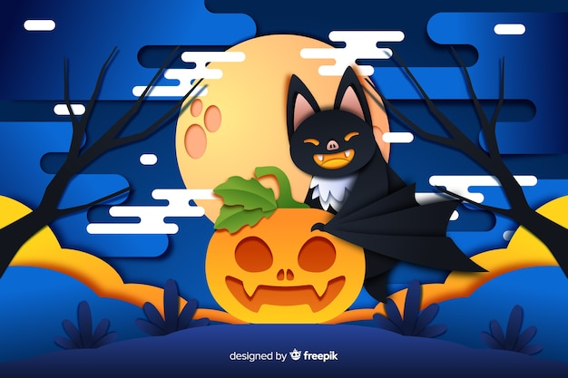 Bat cat and pumpkin halloween background