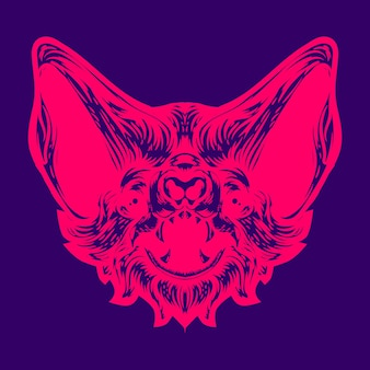 コウモリの顔ネオンカラーイラスト