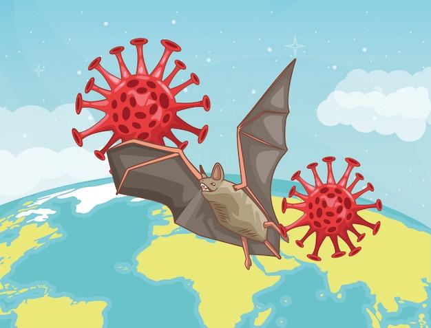 Bat flying in planet coronavirus scene illustration