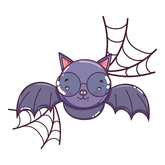 Bat flying wearing glasses and spiderweb