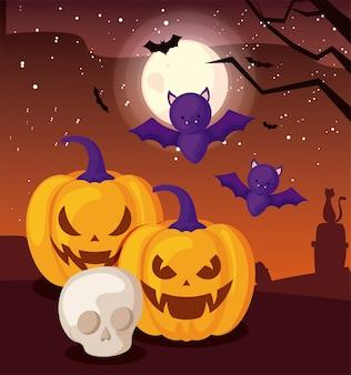 Bat flying with pumpkin on halloween scene