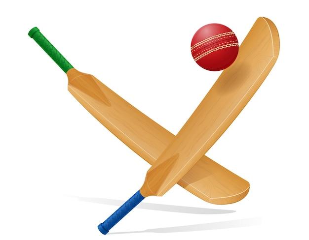 Летучая мышь для игры в крикет спорта векторные иллюстрации, изолированные на белом фоне
