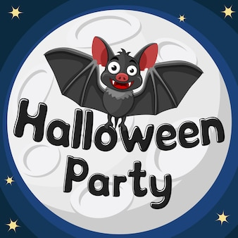 Bat on halloween party text on of the night moon.