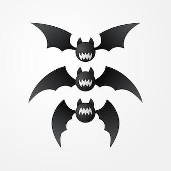 Bat halloween vector set element isolated download
