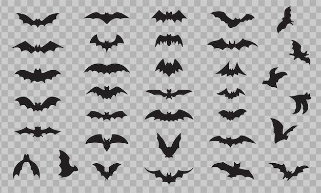 Bat icon set isolated on transparent background. black bats silhouettes