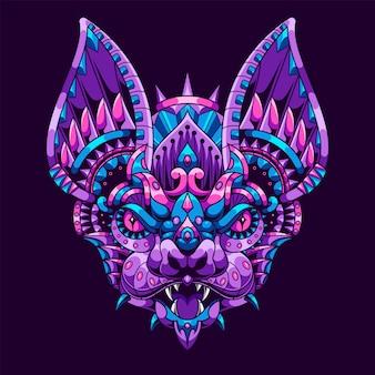 コウモリのイラスト、カラフルなマンダラ、tシャツのデザイン