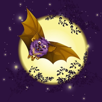 The bat is flying against the background of the moon.