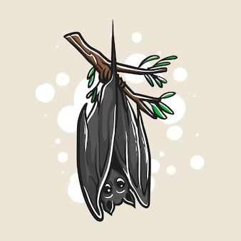 Bat is hanging on the stem illustration