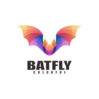 Летучая мышь логотип иллюстрации красочный градиент