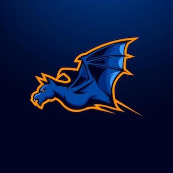 배지, 엠블럼, 티셔츠 인쇄를 위한 현대적인 일러스트레이션 컨셉의 박쥐 마스코트 로고 디자인 벡터. 게임, 스포츠 또는 팀을 위해 날아가는 박쥐의 그림