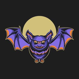 어두운 배경에 고립 된 박쥐 밤