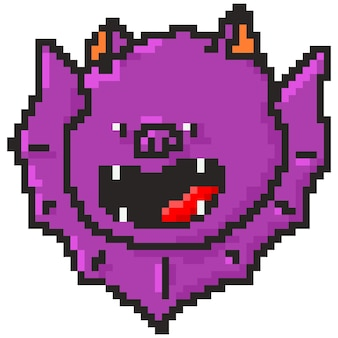 Bat pixel art vector halloween character isolated on a white background.