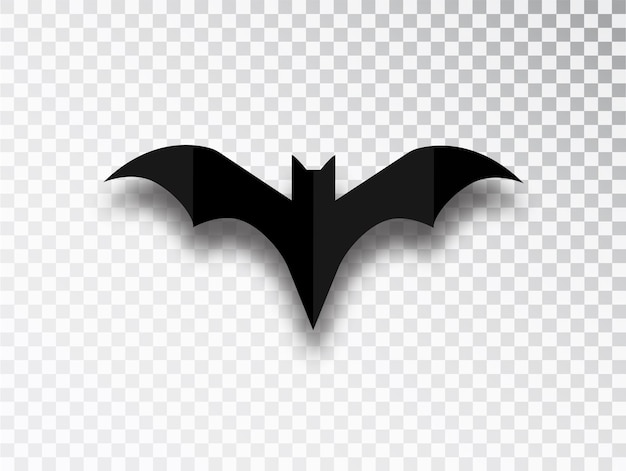 Bat silhouette isolated on transparent background. halloween traditional design element.