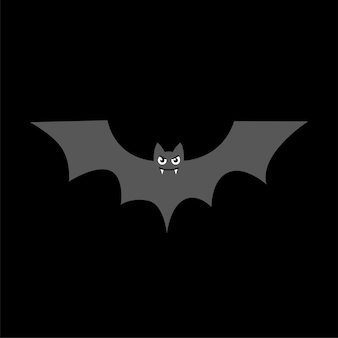 Bat silhouette with vampire fangs icon on black background vector symbol for halloween holiday