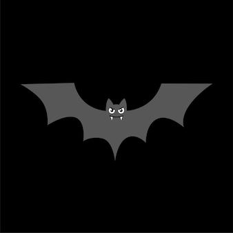 ハロウィーンの休日の黒の背景ベクトルシンボルに吸血鬼の牙のアイコンとコウモリのシルエット