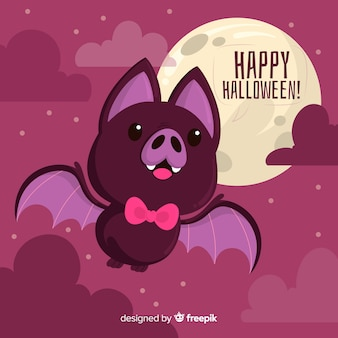 Bat with bow tie on a full moon night