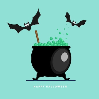 Bat with potion boiling vector