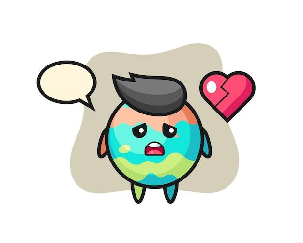 Иллюстрация шаржа бомбы для ванны - разбитое сердце, милый стиль дизайна для футболки, наклейки, элемента логотипа