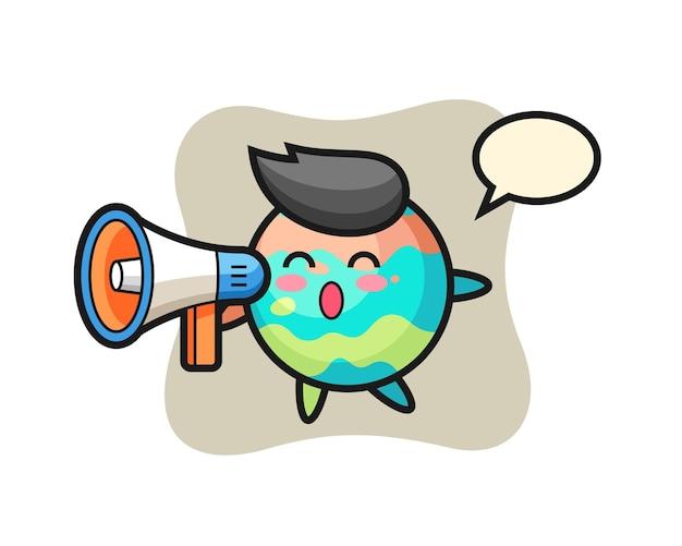 메가폰을 들고 있는 목욕 폭탄 캐릭터 그림, 티셔츠, 스티커, 로고 요소를 위한 귀여운 스타일 디자인