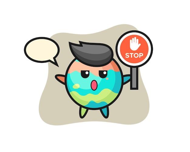 정지 신호를 들고 있는 목욕 폭탄 캐릭터 그림, 티셔츠, 스티커, 로고 요소를 위한 귀여운 스타일 디자인