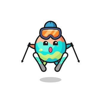 Персонаж талисмана бомбы для ванны в качестве лыжника, милый стиль дизайна для футболки, наклейки, элемента логотипа