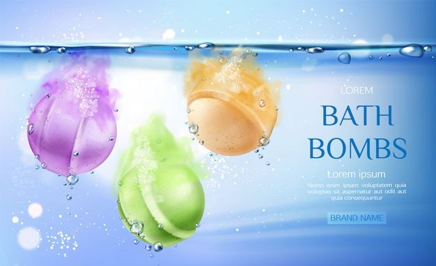 Bath bombs in water, spa cosmetics beauty product for body care