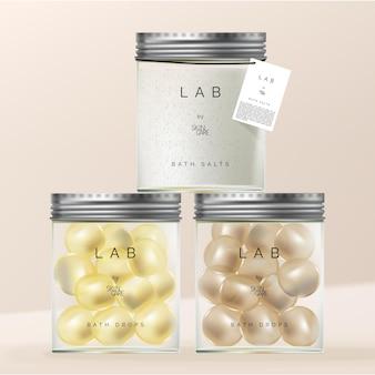 スクリューアルミニウムキャップ付きガラス器具ジャー包装のバスドロップと塩