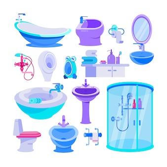 Банные принадлежности для ванной, набор иллюстраций, унитаз, ванна, туалетные принадлежности для гигиены