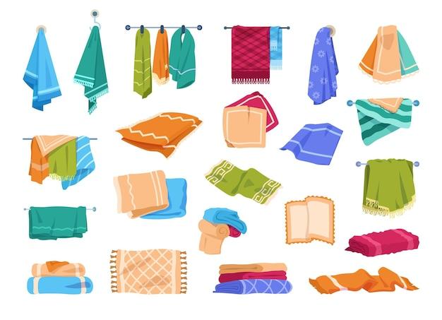 Банные полотенца кухня или руки, висящие на рельсах или кольцах полотенца векторные иллюстрации шаржа