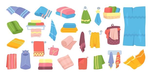 イラストのバス生地タオルセット。バスルーム、キッチン、衛生繊維のホテルの綿布タオル。柔らかく折りたたみ、白に掛かっている国産タオルコレクション。