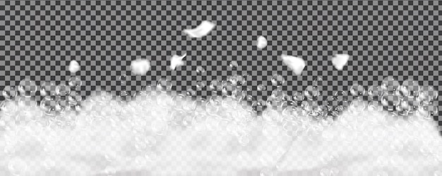 透明で隔離されたバスフォーム。シャンプーの泡の質感。