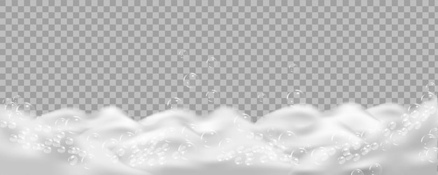 Bath foam isolated on transparent. shampoo bubbles texture.