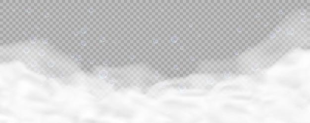 투명 한 배경에 고립 된 거품 목욕 거품. 현실적인 비누 거품 질감. 샴푸, 젤 또는 무스 비눗물 오버레이 효과의 그림.