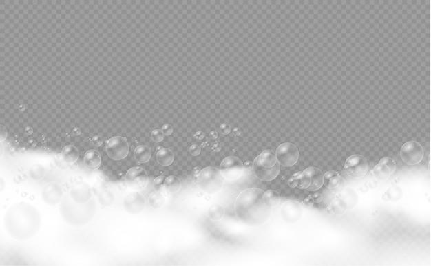 シャンプーの泡、シャボン玉、ジェルまたはシャンプーの泡が泡に重なるバスフォーム、