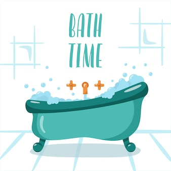 Bath room in flat style bath time sign bath tab with foam and soap bubbles vector