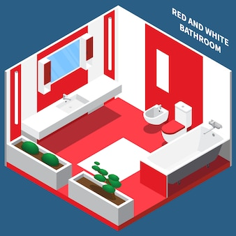 Bath room interior isometric composition