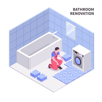 Bath room repair isometric composition in white blue color