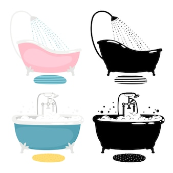 Bath of set  on white background
