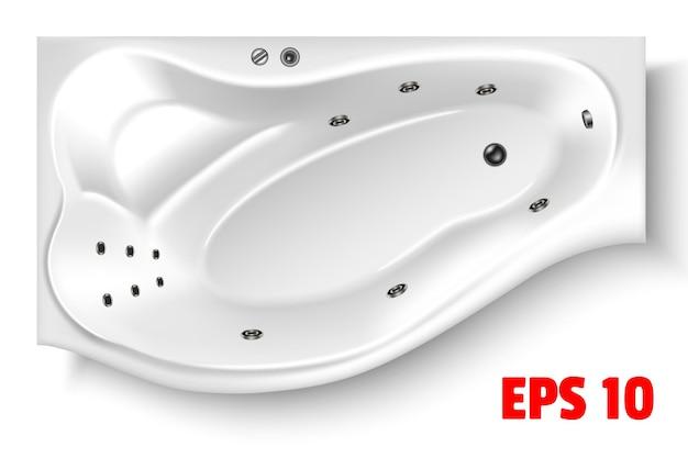 흰색 배경에 고립 된 3d 현실적인 스타일의 목욕 평면도 세라믹 배관 거품