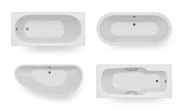 Вид на ванну сверху. предметы спа-комнаты для гигиены мытья ванны реалистичные шаблоны. ванна и ванная комната, интерьер спа и ванна в помещении. векторная иллюстрация