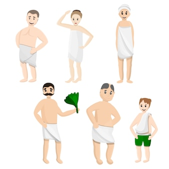 Bath towel icons set