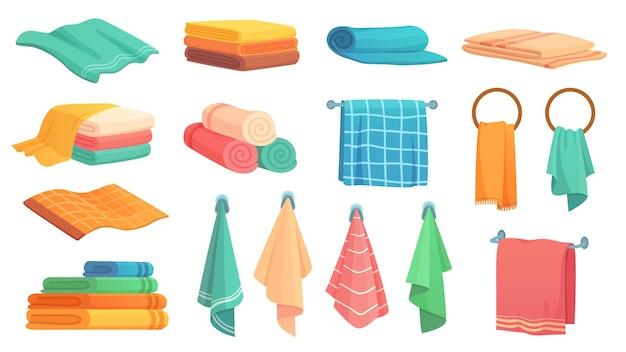 Банные полотенца. мультяшное тканевое полотенце, висящее на кольце, свернутые цветные тканевые полотенца и сложенный набор иллюстраций полотенца.