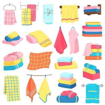 Bath towels. fabric cartoon fluffy bath textile. bathroom, kitchen soft fabric towels  illustration icons set. fabric hotel textile, bathroom towel folded