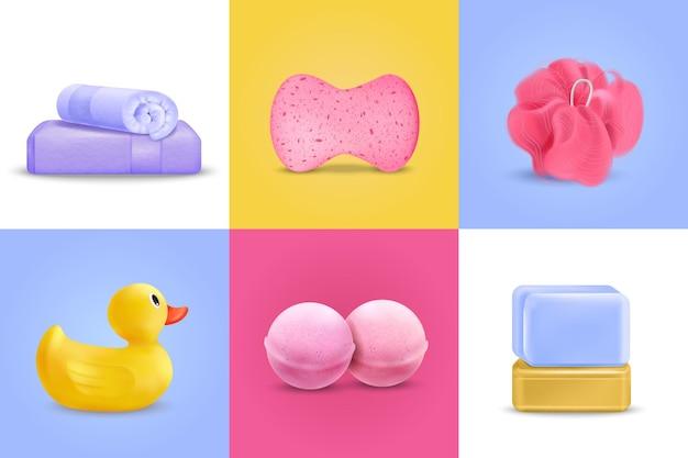 Il concetto di design del lavaggio del bagno ha messo con l'illustrazione isolata realistica dell'anatroccolo e del sapone